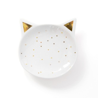 Coupelle à bijoux en céramique blanche chat 9,7x9,8cm