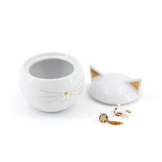Boite à bijoux en céramique blanche chat 8,6x9cm