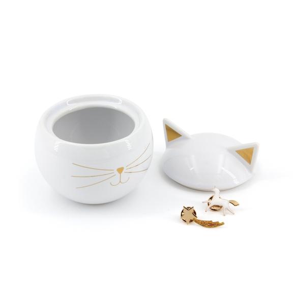Achat en ligne Boite à bijoux en céramique blanche Chat 8,6x9cm