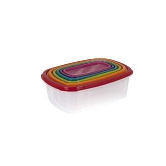 Lot de 6 boîtes rectangulaires empilables et multicolores