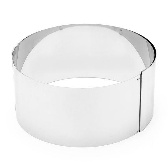 Cercle inox ajustable diamètre 18 à 30cm hauteur 9cm