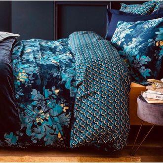 Housse de couette 140x200cm en percale barroco bleu encre