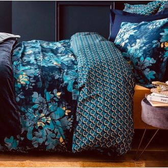 Housse de couette 260x240cm en percale barroco bleu encre