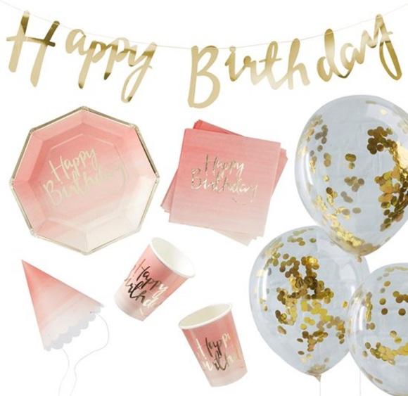 Achat en ligne Party box Happy birthday ombre rose et or