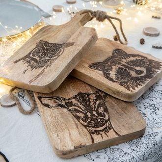 Planche décorée animaux en bois
