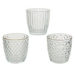 compra en línea Portavelas de té de vidrio con borde de oro