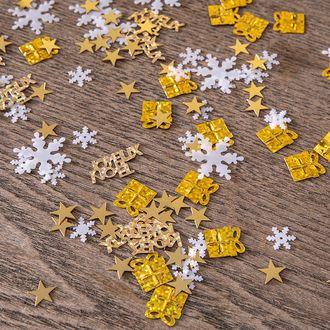 Mix 4 décors confettis a parsemer or et blanc
