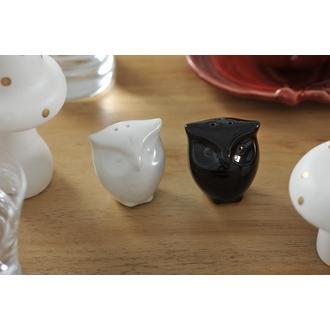 Set salière et poivrière en forme de chouette noir et blanc