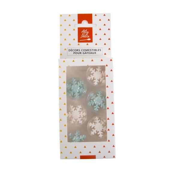 Achat en ligne 12 décors sucre flocons bleu et blanc 12g