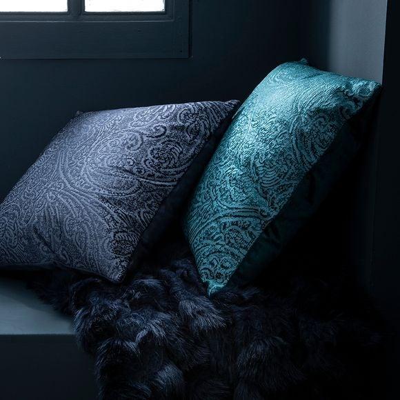 Cuscino quadrato in velluto verde 40x40cm