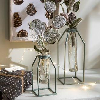 Vase tube essais support métal vert dhaka 6xb6xh13cm
