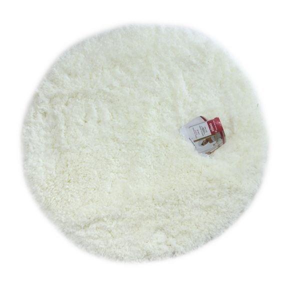 Tapis de bain rond 55x55cm en coton tufté blanc