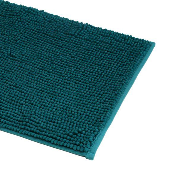 Tappeto da bagno rettangolare blu petrolio 60x90