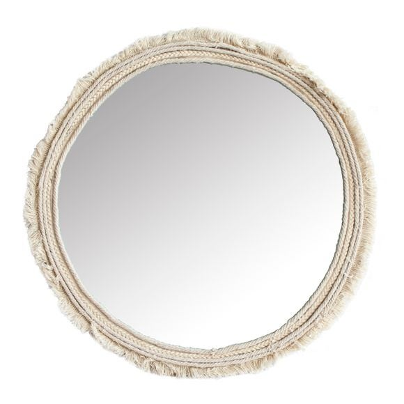 Miroir rond tissu effiloché 41,5cm