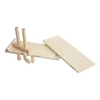 Set pegboard xxl 8 barres bois 5 et 15cm 2 tablettes 40x15cm