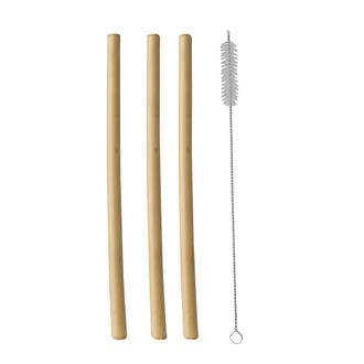12 pailles bambou + brosse de nettoyage