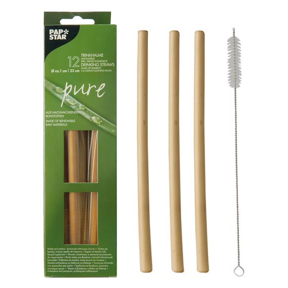 Set 12 cannucce con scovolino in bamboo