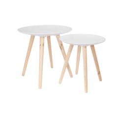 acquista online Set di 2 tavolini sovrapponibili tondi bianchi