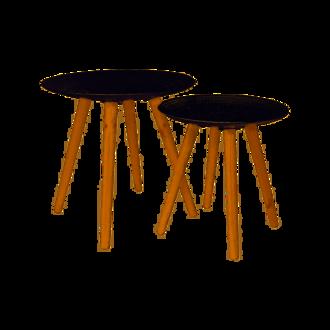 Set de 2 tables gigognes ronde à gouttelette blanche
