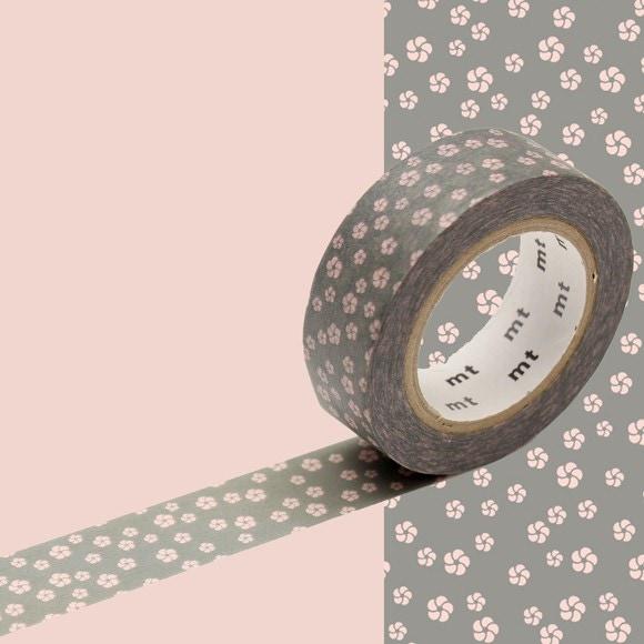 Masking tape fleurs rose fond gris