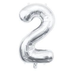 Achat en ligne Ballon chiffre 2 argent 40cm