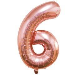 Achat en ligne Ballon chiffre 6 rose gold 40