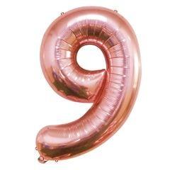 Achat en ligne Ballon chiffre 9 rose gold 40