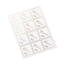 Achat en ligne 24 stickers merci blanc et or 4x4cm