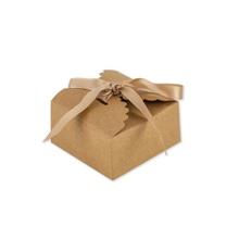 Achat en ligne 10 boites festonnées kraft avec ruban satin 3,5x7cm