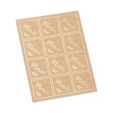 Achat en ligne 24 stickers merci kraft et or 4x4cm