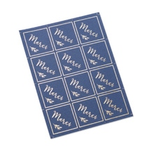 Achat en ligne 24 stickers merci bleu marine et or 4x4cm