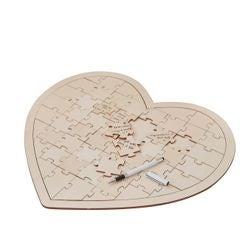 Achat en ligne Livre d'or cœur en bois pièces puzzle