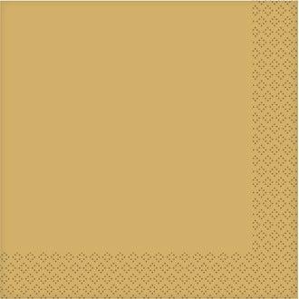 20 serviettes métalliques or 33x33 cm