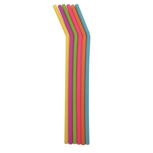 6 pailles courbées en silicone multicolore + goupillon 25cm