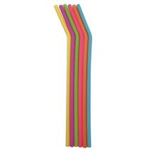 Achat en ligne 6 pailles courbées en silicone multicolore + goupillon 25cm