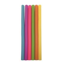 Achat en ligne 6 pailles droites en silicone multicolore + goupillon 25cm