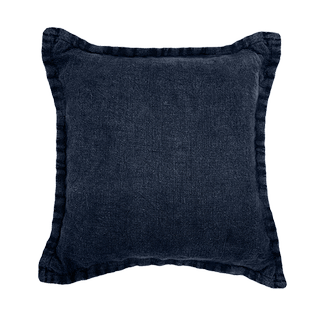 Coussin en coton et lin socco bleu majorelle 40x40cm