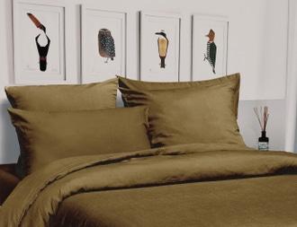 Housse de couette 140x200cm lin et coton à boutons jaune foin