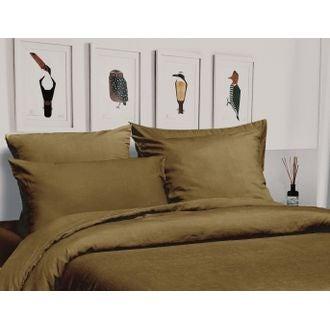 Housse de couette 200x200cm en lin et coton à boutons jaune foin