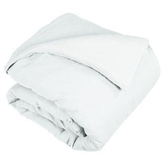 Housse de couette 200x200cm en lin et coton à boutons blanc neige
