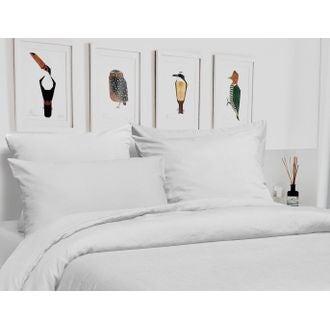 Housse de couette 240x220cm en lin et coton à boutons blanc neige