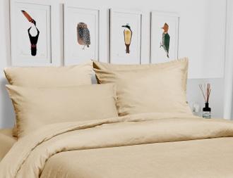 Housse de couette 140x200cm lin et coton à boutons beige ficelle