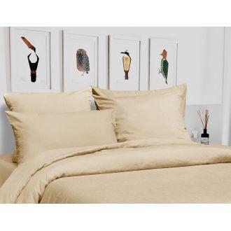 Housse de couette 200x200cm en lin et coton beige ficelle