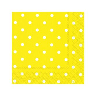 20 serviettes bio little dots yellow 33x33 cm