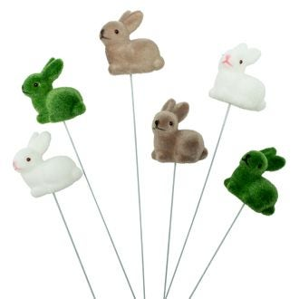 Bouquet 6 petits lapins couchés blanc taupe et vert