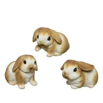 Petit lapin maron et blanc en polystyrène 5x8,5 cm