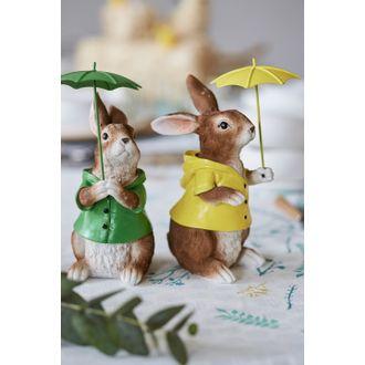 Lapin avec parapluie vert-jaune 9x12,5 cm