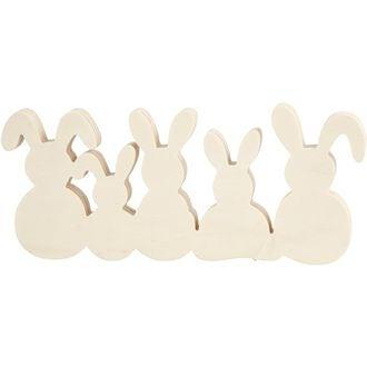 Famiglia conigli in legno 11x30x2cm