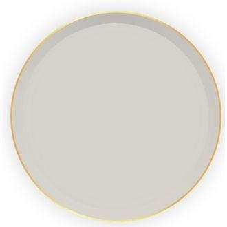 Confezione in carta beige con bordo oro 8 pz. Ø23cm