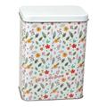 Boite à biscuits en fer blanche avec fleurs multicolores